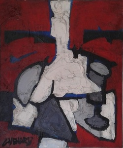 Claude VENARD - Painting - Composition Rouge au Verre à Pied