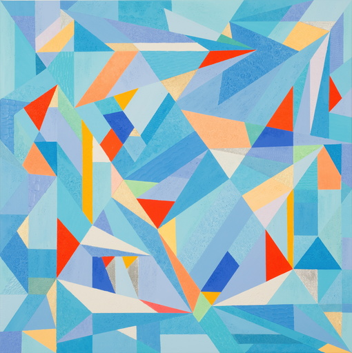 Lorena ULPIANI - Painting - Danza in azzurro - abstract oil materic geometric
