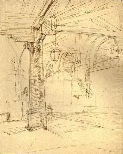 Edmond Charles KAYSER - Drawing-Watercolor - Studie Kircheninterieur / Study of a church interior