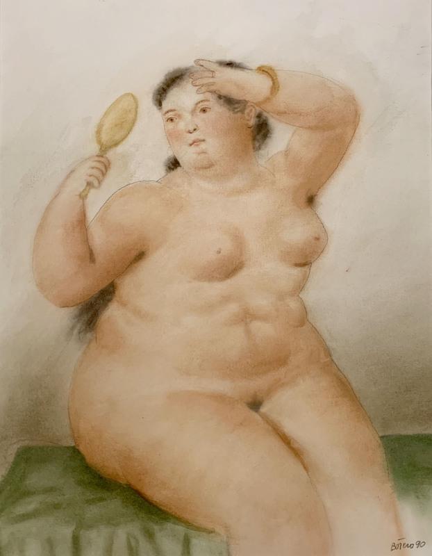 Fernando BOTERO - Dibujo Acuarela - Woman with mirror