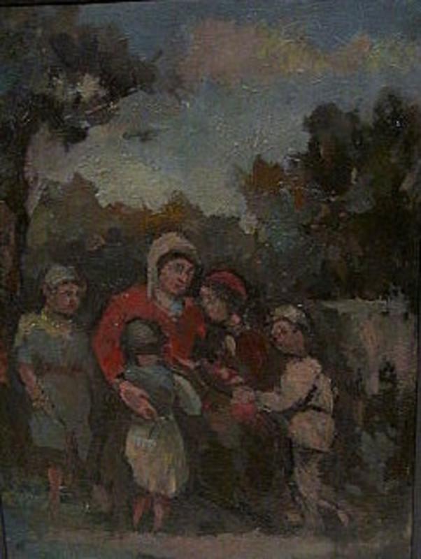 Walter KAISER - 绘画 - Mutter mit vier Kindern.
