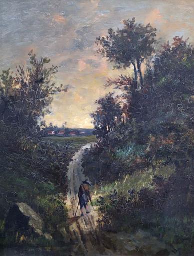 Alphonse LEGROS - Pintura - The peddler walking in the woods