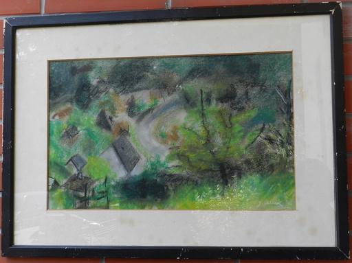 Janko ALEXY - Dibujo Acuarela - On the outskirts of the village
