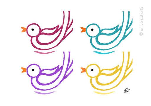 Jacqueline DITT - Print-Multiple - Varicoloured Birds