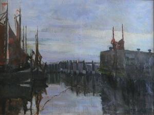 Gustave FLASSCHOEN - Pintura - marine harbor entrance