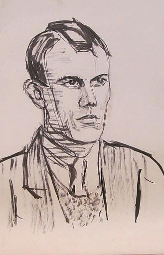 Erich HARTMANN - Disegno Acquarello - #19858: Porträt eines jungen Mannes.