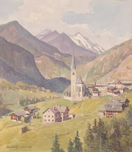 "Rudolf SCHMIDT - Zeichnung Aquarell - ""View of Heiligenblut in Austria"", Watercolor, ca 1920"