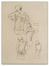 Michael LEONARD - Drawing-Watercolor - Singlet on & off fast: back view x 4