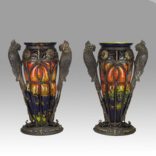 MULLER FRERES (act.1895-1936) - Exotic Bird Vases