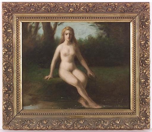 "Jules Armand HANRIOT - Gemälde - ""Bathing Beauty"", Oil on Panel, late 19th Century"