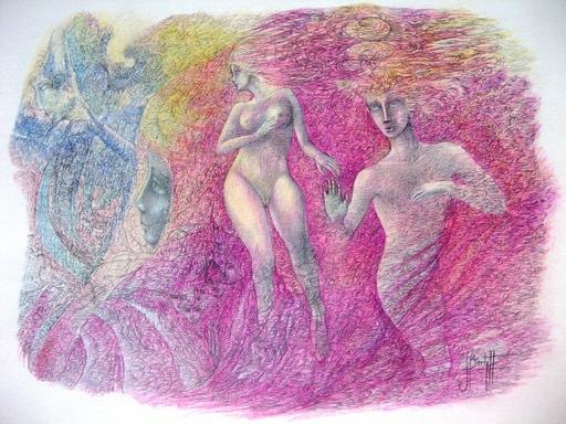 Serge BARTY - Dessin-Aquarelle - ADAM ET EVE