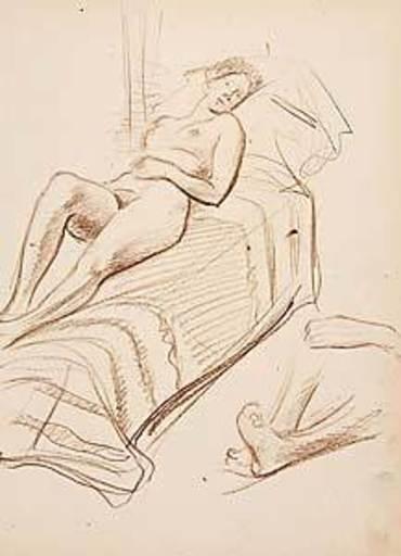 Joseph FLOCH - Dibujo Acuarela - Liegende
