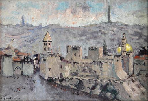 André HAMBOURG - Pintura - Jerusalem, La Porte de Jaffa, Temps de pluie