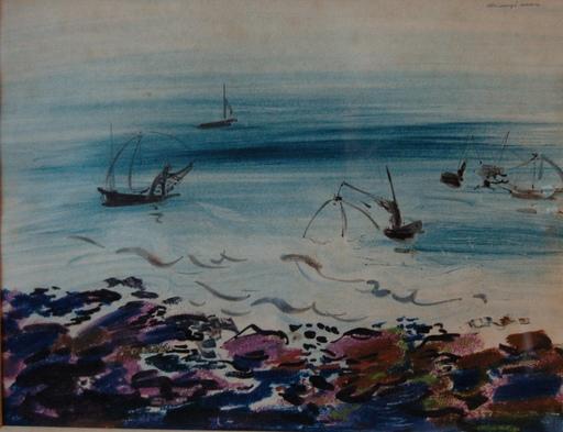 Henry SIMON - Dibujo Acuarela - les barques de pêcheurs