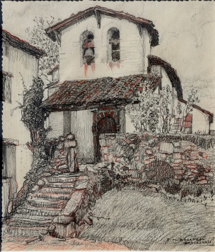 "François Maurice ROGANEAU - Drawing-Watercolor - ""LA CHAPELLE DE BASCASSAN"""