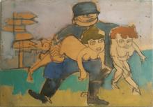 Mino MACCARI - Painting - Soldato con due donne