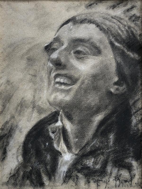 Francesco Paolo MICHETTI - Disegno Acquarello - Portrait