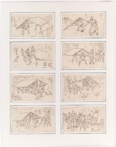 "Hans SCHLIESSMANN - Dibujo Acuarela - ""Eight Cartoons"", Drawings, 1884"