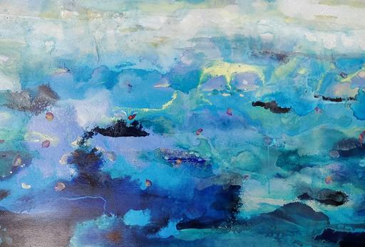 Marie-Pierre AUTONNE - Painting - Bleus incandescents