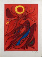 Gustave SINGIER - Grabado - Le Soleil Rouge