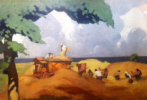 "Charley GARRY - Peinture - ""FENAISONS EN BORD DE MER"""
