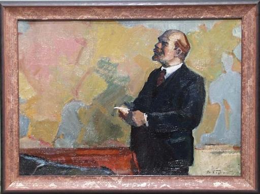 "Michail BOZHIJ - Pittura - ""Lenin"", Oil Painting by Michail Bozhij, ca 1960"
