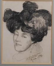 Félix BRACQUEMOND - Dibujo Acuarela - femme au chapeau