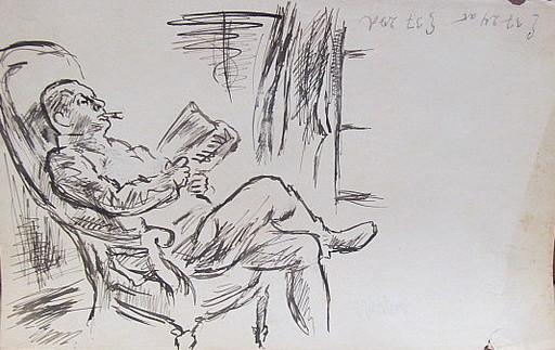 Erich HARTMANN - Disegno Acquarello - #19879: Lesender Mann im Sessel.