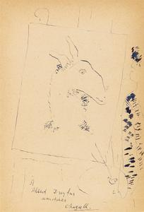 Marc CHAGALL - Drawing-Watercolor - Self portrait painting a Goat