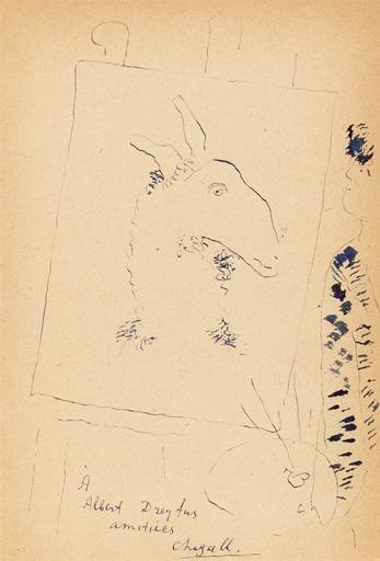 马克•夏加尔 - 水彩作品 - Self portrait painting a Goat