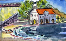 Jean-Pierre CHEVASSUS-AGNES - Drawing-Watercolor - plage et chapelle orthodoxe ANDROS CYCLADES GRECE