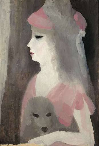 Marie LAURENCIN - Gemälde - Jeune femme au chien