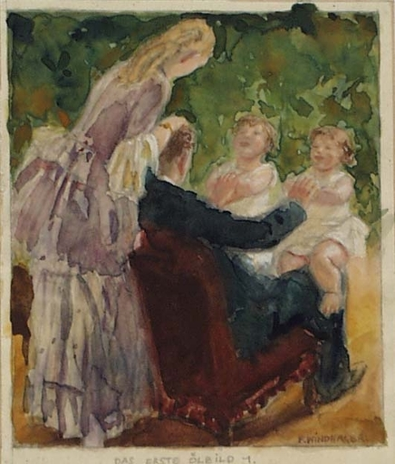 "Franz WINDHAGER - Painting - ""Happy Family"" by Franz Windhager, ca 1925, Watercolor"