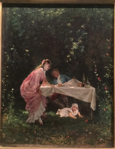 Camillo INNOCENTI - Pintura - Playing with child