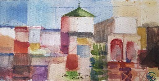 Louis René MOILLIET - Dessin-Aquarelle - Moschee und Gärten in Salah