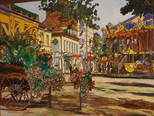 Joël FOUGMAN - Pittura - FLOWERY CART