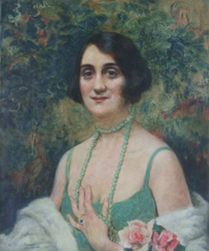 Leopold PILICHOWSKI - Pittura - Woman with Pearl Necklace