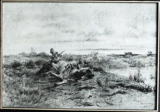 Rosa BONHEUR - Drawing-Watercolor - « Le buffle attaqué par des fauves »