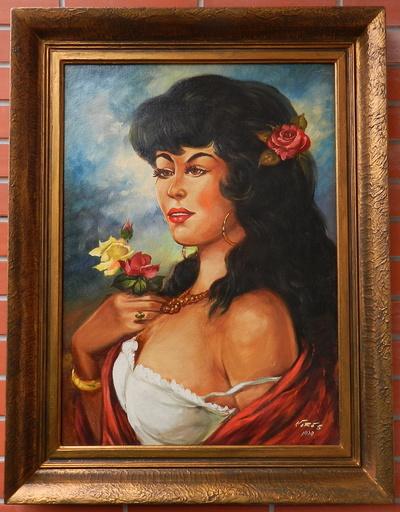 Béla VÖRÖS - 绘画 - Portrait of gypsy