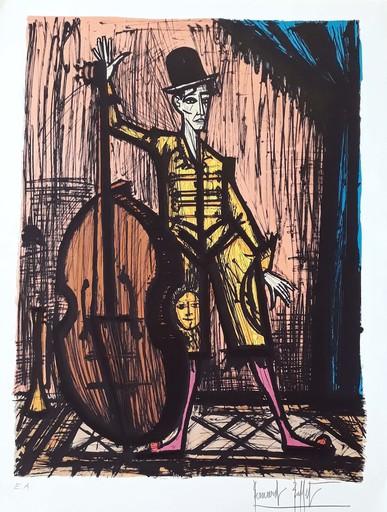 贝纳•毕费 - 版画 - Le clown à la contrebasse