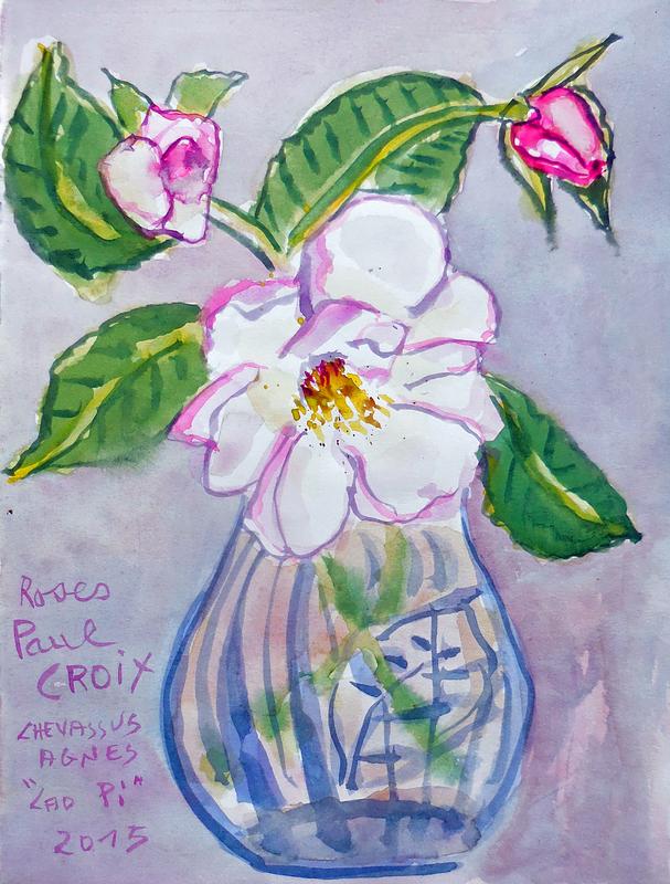Jean-Pierre CHEVASSUS-AGNES - Dessin-Aquarelle - bouquet de roses Paul CROIX ( Bourg Argental Loire )