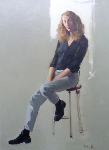 Michael RAPOPORT - Painting - Girl Sitting on a Chair
