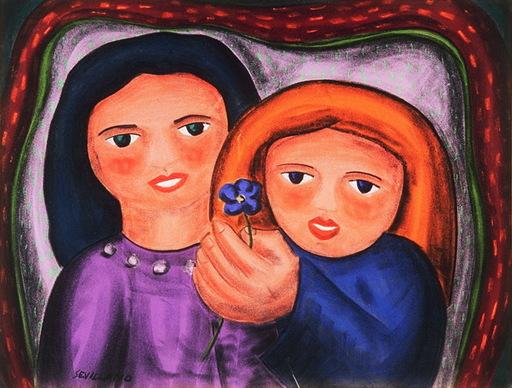 Angel SEVILLANO ESTREMERA - Dibujo Acuarela - madre e hija