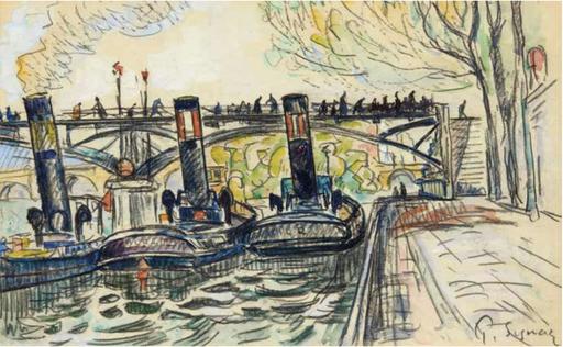Paul SIGNAC - Drawing-Watercolor - Trois péniches à vapeur sous le pont des arts