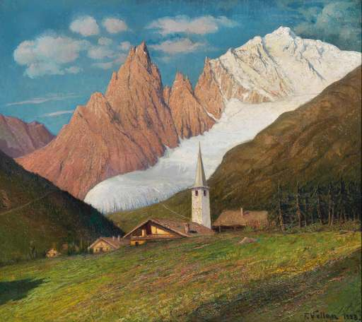 Felice VELLAN - Gemälde - Entrèves Val d'Aosta (1928)