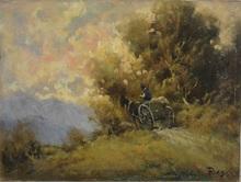 Luigi ROSSI - Pintura - Paysan sur sa charrette sur fond de montagnes