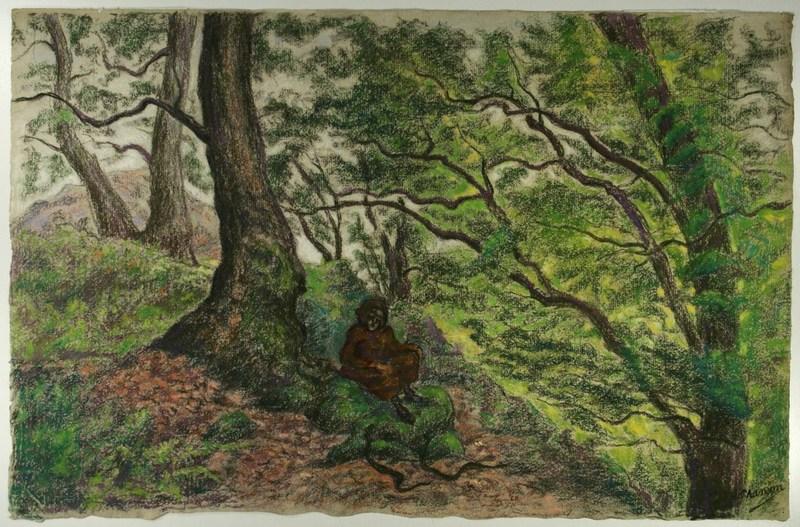 Paul Élie RANSON - Drawing-Watercolor - Moine dans la forêt, deux serpents face à lui