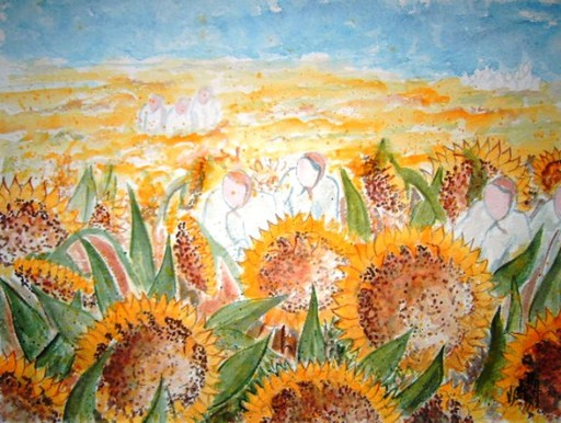 Valerio BETTA - Peinture - Donne nei campi- Woman to work