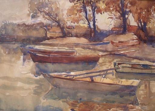 Max Robert THEYNET - 水彩作品 - Cinq barques lac de NE