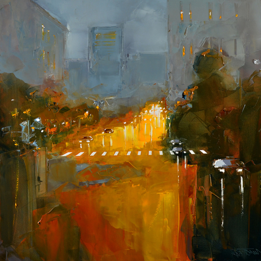 Daniel CASTAN - Painting - San Franciso - By night